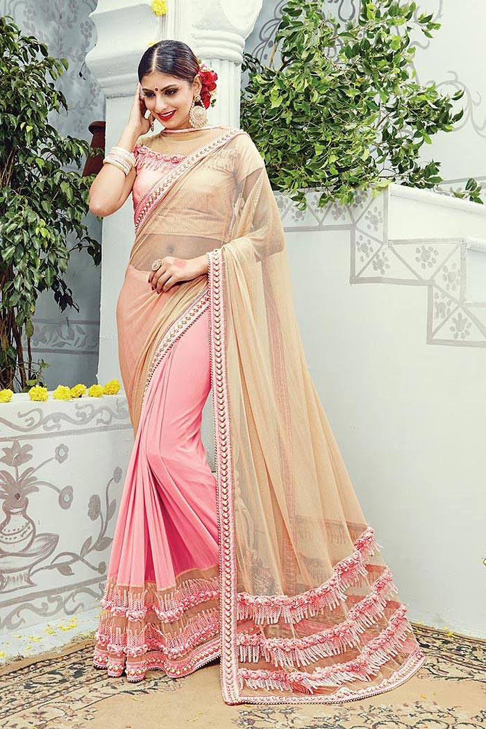 Designer Pink and Peach Party Wear Saree in Net