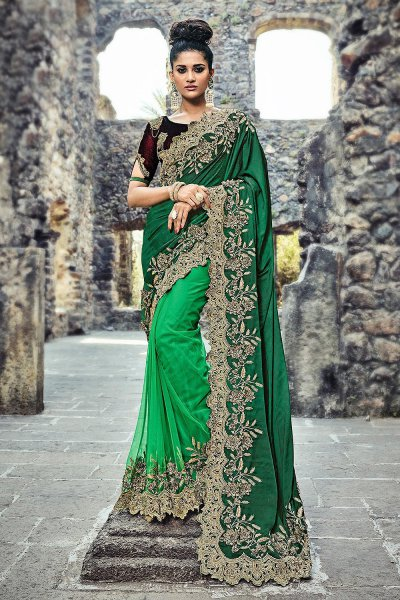 Designer Bottle Green Party Wear Saree in Silk