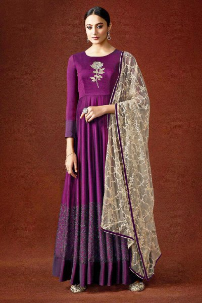 Luxurious Purple and Beige Party Wear Anarkali Style Dress