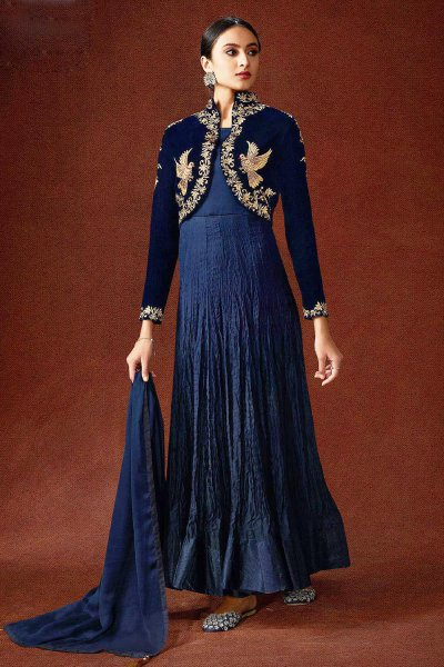 Classic Navy Georgette Jacket Style Party Wear Anarkali Dress