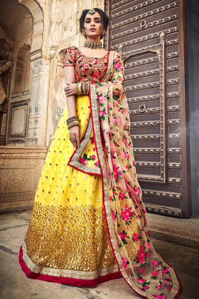 Mustard Net Lehenga Choli with Floral Embroidery