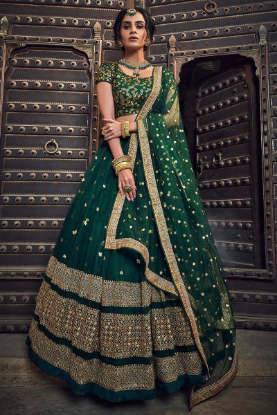 Bottle Green Net Lehenga Choli with Floral Embroidery