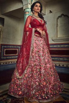 Ravishing Crimson Net Lehenga Choli with Floral Embroidery