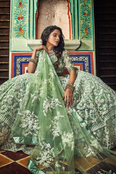 Pastel Green Net Lehenga Choli with Floral Embroidery