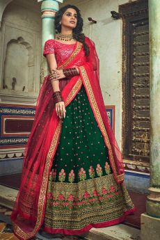 Bottle Green and Red Net Lehenga Choli with Floral Embroidery
