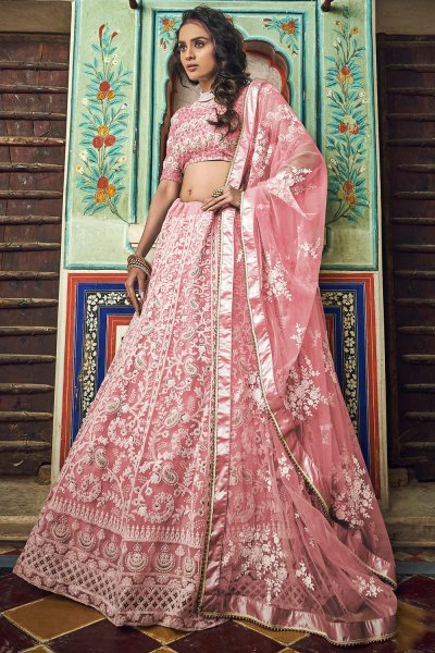 Pastel Pink Net Lehenga Choli with Floral Embroidery