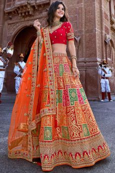 Glam Orange and Red Jacquard Silk Lehenga