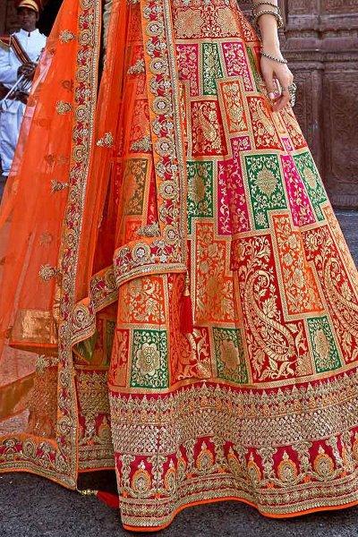 Glam Orange and Red Jacquard Silk Lehenga