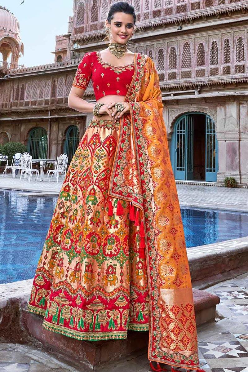 Red Embroidered Lehenga Choli Set in Silk