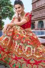 Peach and Red Embroidered Lehenga Choli Set in Silk