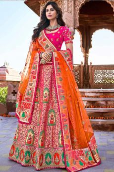 Pink Banarasi Silk Embroidered Lehenga Choli Set