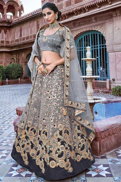 Black and Grey Embroidered Banarasi Silk Lehenga Choli Set