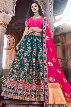Banarasi Silk Pink and Teal Embroidered Lehenga Choli Set