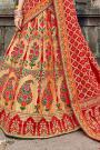 Banarasi Silk Red Embroidered Trendy Lehenga Choli Set