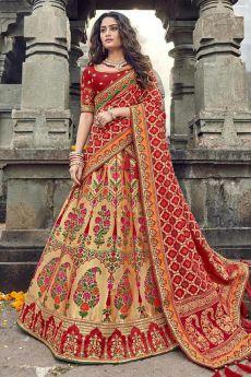 Banarasi Silk Red Embroidered Trendy Lehenga Choli Set