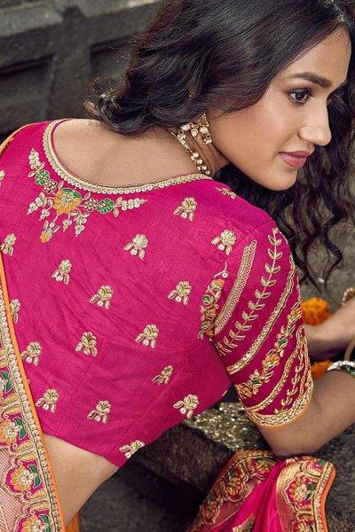Banarasi Silk Pink Embroidered Trendy Lehenga Choli Set