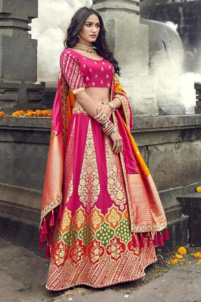 Banarasi Silk Pink Embroidered Trendy Lehenga Choli Set