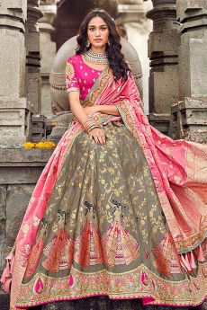 Banarasi Silk Pink and Grey Embroidered Lehenga Choli Set