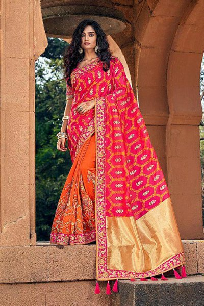Banarasi Silk Pink and Orange Embroidered Saree