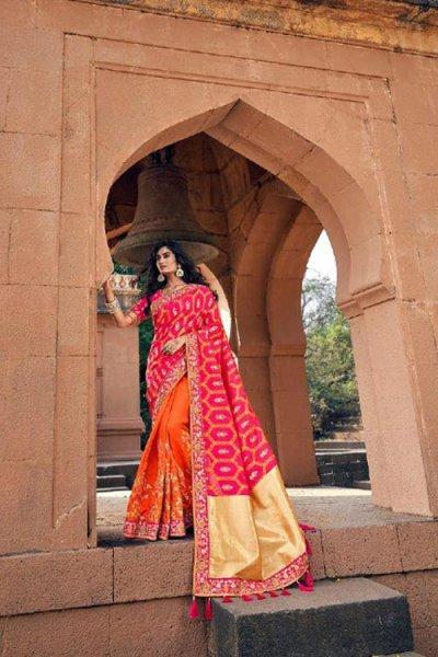 Banarasi Silk Pink and Orange Embroidered Saree