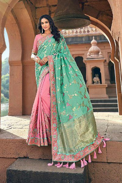 Banarasi Silk Baby Pink and Mint Embroidered Saree