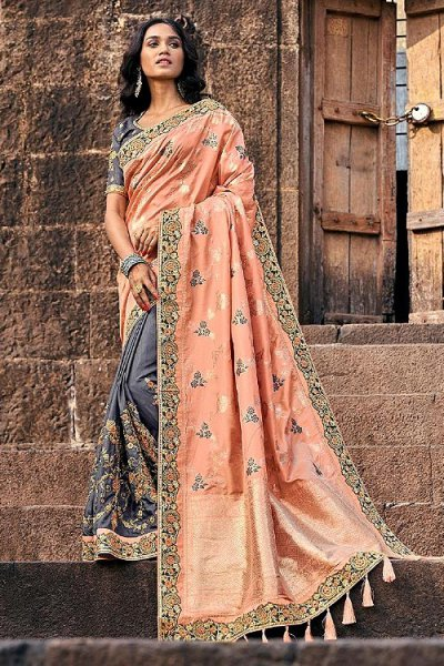 Banarasi Silk Peach and Grey Embroidered Saree