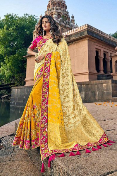 Banarasi Silk Yellow Embroidered Saree