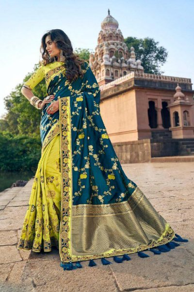 Banarasi Silk Lemon Green and Teal Embroidered Saree
