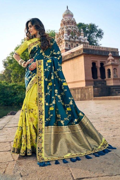Banarasi Silk Lemon Green and Teal Embroidered Saree