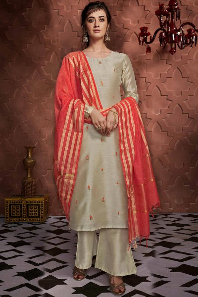 Light Sage Green Embroidered Palazzo Suit in Silk