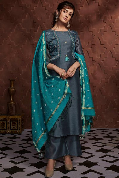Steel Blue Embroidered Palazzo Suit in Silk