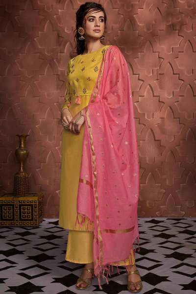 Shiny Yellow Embroidered Palazzo Suit in Silk