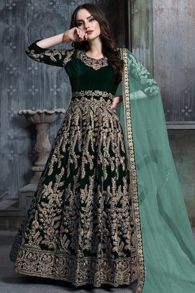 Bottle Green Zari Embroidered Anarkali Suit with Net Dupatta