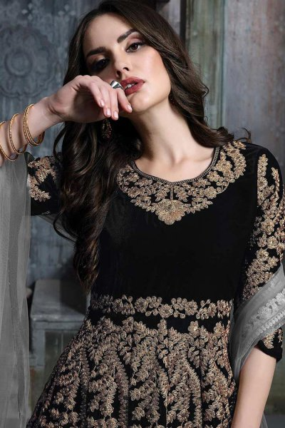 Black Zari Embroidered Anarkali Suit with Net Dupatta