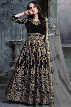 Black Zari Embroidered Anarkali Suit with Net Dupatta