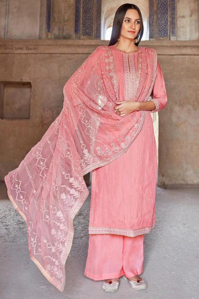 Ready to Wear Premium Muslin Embroidered Palazzo Suit in Pink