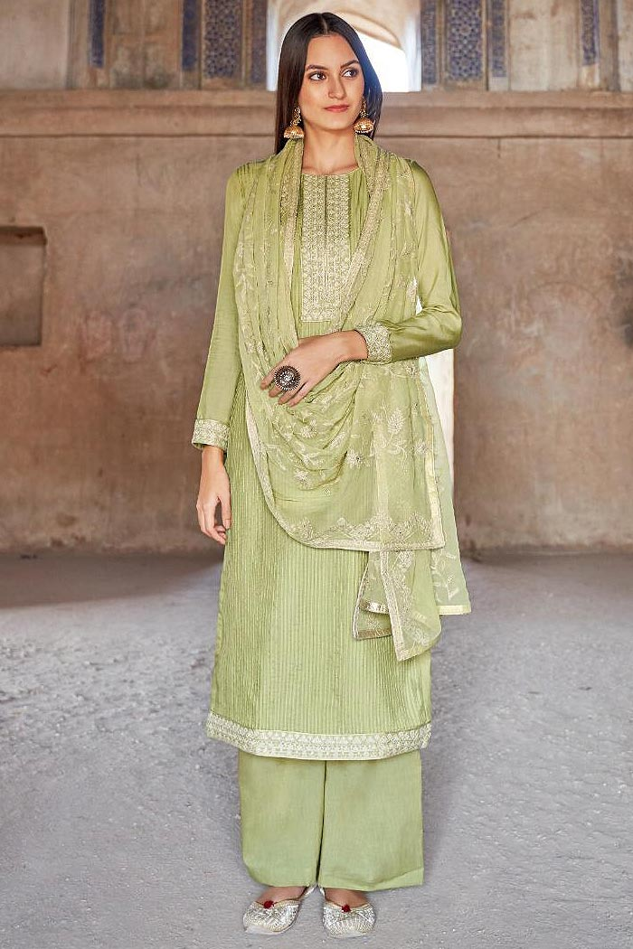 Ready to Wear Premium Muslin Embroidered Palazzo Suit in Kiwi Green