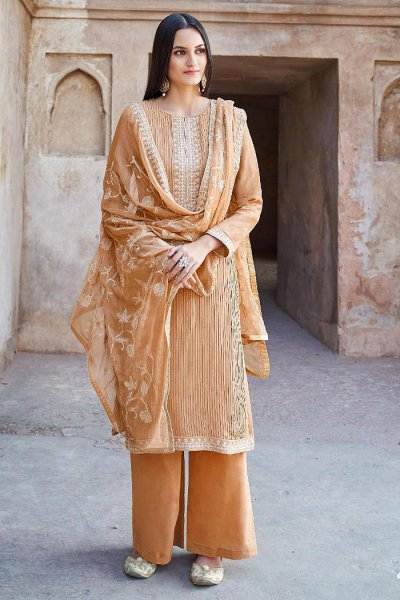 Designer Tan Embroidered Palazzo Suit
