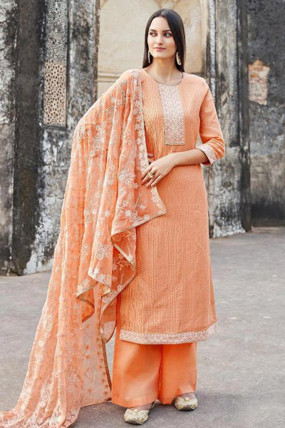 Designer Tangerine Embroidered Palazzo Suit