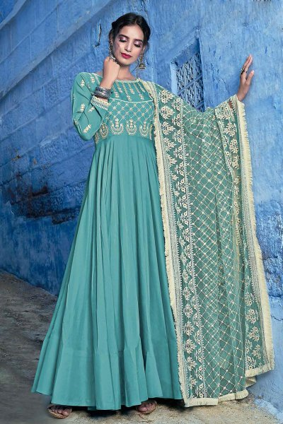 Designer Turquoise Anarkali Dress with Lucknowi dupatta