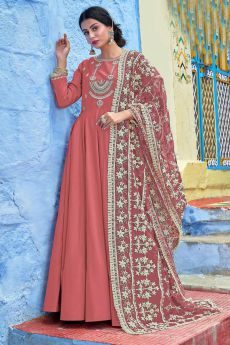 Designer Blush Peach Anarkali Dress with Lucknowi dupatta