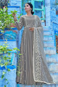 Designer Grey Anarkali Dress with Lucknowi dupatta