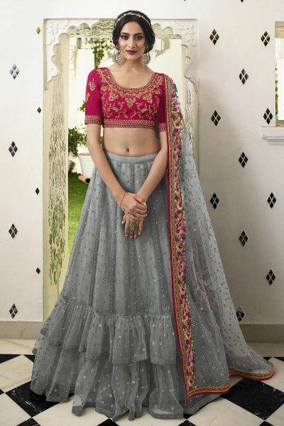 Pink and Grey Net Lehenga Choli with Embellishments