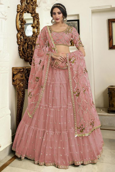 Pastel Pink Net Lehenga Choli with Embellishments