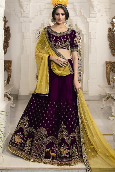 Purple and Yellow Velvet Lehenga Choli with Embellishments