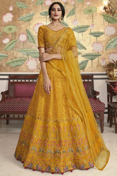 Stunning Yellow Silk Lehenga Choli with Embellishments