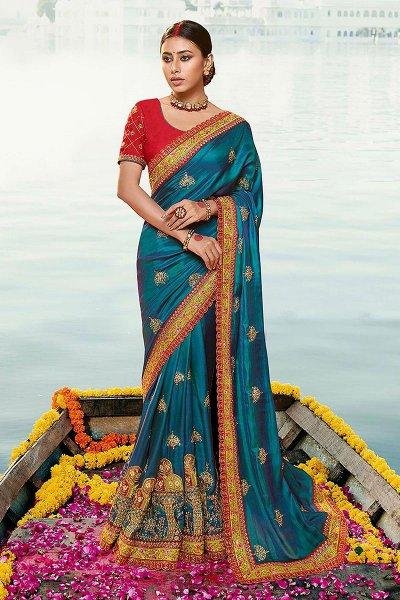 Teal Silk Saree with Zari Embroidered Work