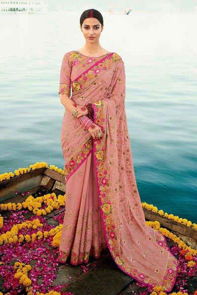 Blush Pink Silk Saree with Zari Embroidered Work