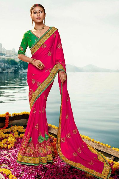 Magenta and Green Silk Saree with Zari Embroidered Work