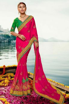 Magenta and Green Silk Saree with Zari Embroidered Work